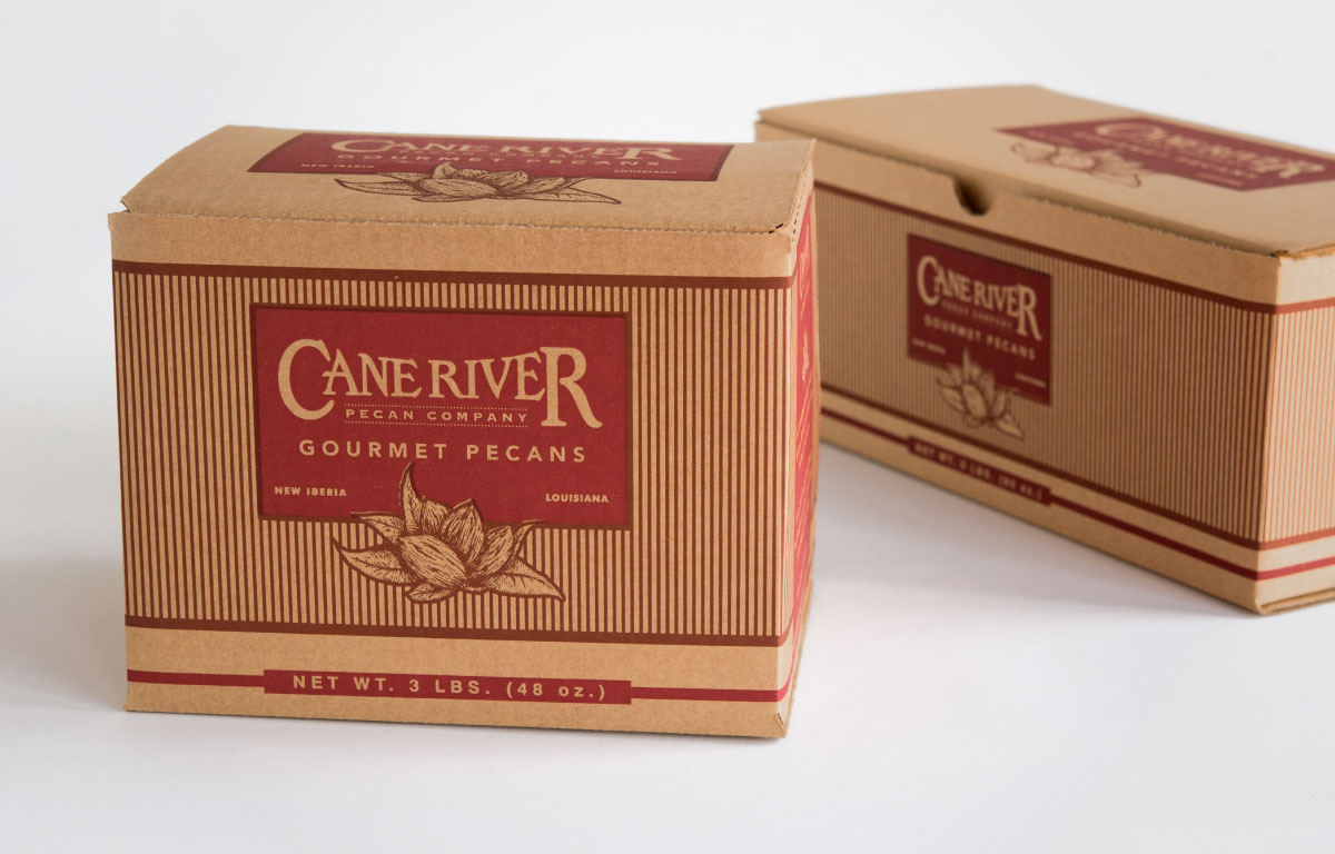 Cane River pecan boxes of product